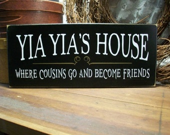 Wood Sign Yia Yia's House Greek Grandmother Plaque Family Wall Art Mother's Day