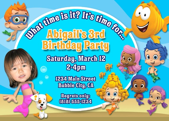 Bubble Guppies Birthday Party Invitation with your child's photo - DIGITAL FILE
