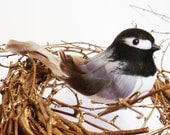 Chubby Black Capped Chickadee Song Bird Christmas Feather Tree Wreath Ornament Decoration