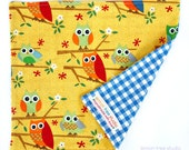 LAST ONE -- Owl Family -- An Eco Friendly Reusable Cotton Napkin