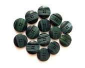 15 Vintage buttons blue green plastic 16mm