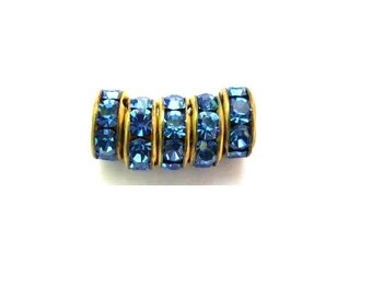 6 Vintage Swarovski rondelle beads blue crystal rhinestone on brass base 8mm spacer beads for jewelry