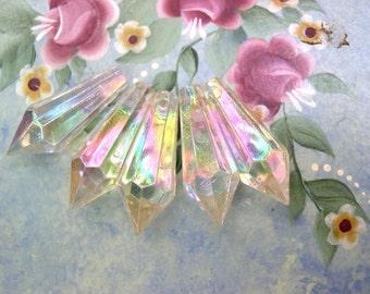7 Vintage dangling beads plastic crystal shape 34mm length