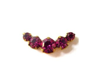 Vintage Swarovski jewelry findings 5 rhinestone crystals in brass setting curve design, fuschia pink