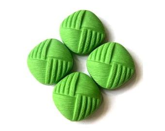 6 Vintage buttons square shape green plastic 20mm