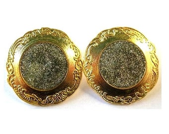 2 Buttons, vintage, metal, gold and silver colors, great for buttons jewelry, 25mm