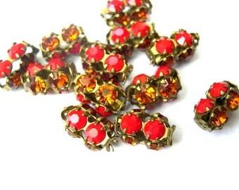 2 Vintage SWAROVSKI  beads  red and orange rhinestones crystals in metal setting genuine 1100 made in Austria
