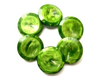 6 Buttons green plastic vintage buttons, 20mm high quality shank buttons