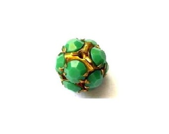 Vintage Swarovski crystal ball bead 13mm green opaque rhinestones in brass setting- RARE