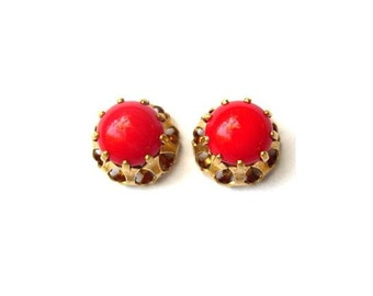 2 Antique vintage Swarovski cabochon, red opaque crystal cut 1100 mounted in brass setting