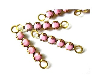 6 Vintage Swarovski crystal connector beads, 4 opaque pink rhinestones in brass setting- RARE