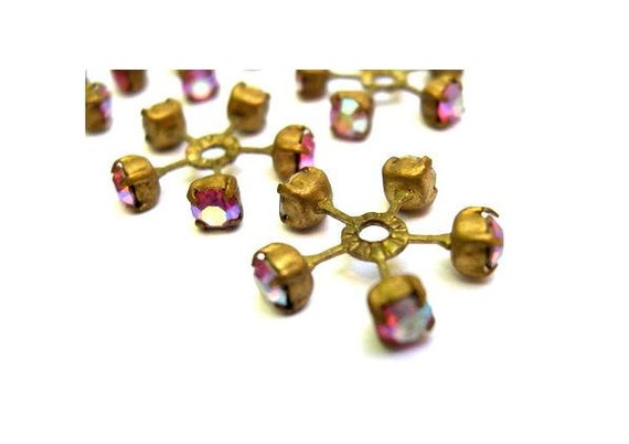 2 swarovski vintage flower shape brass by