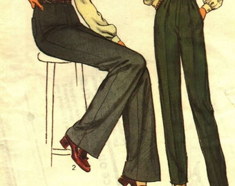 1970s Vintage Womens Pants Trousers Sewing pattern waist 67cm  26.5inches Style 2378 medium