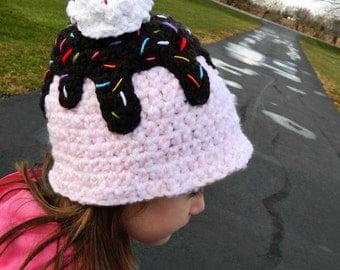 Custom Crochet Ice Cream Sundae Hat, Infant to Adult Sizes