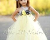 Vintage Wedding Flower Girl Dress   Flower Girl Dress in Yellow and Gunmetal All Sizes Girls