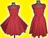 40s 50s STARS RockaBilly swinG DRESS Pin Up Plus Size  16 18 20  Red and White Star Christmas Halloween Party 2x