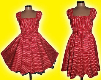 Spring Summer 40s 50s STARS RockaBilly swinG DRESS Pin Up Plus Size  16 18 20  Red and White Star Party 2x