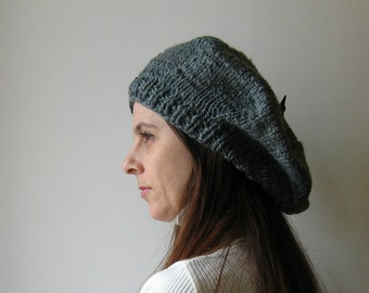 Dark Gray Beret, French Beret, Womens Hat, Wool Beret, Knit Beret, Beret Hat, Hand Knit Hat, Chunky Knit Hat, Slouchy Hat, Winter Hat