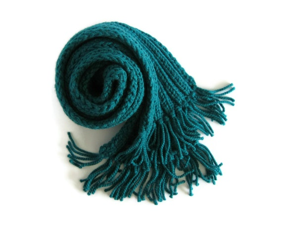 Teal Chunky Scarf Knitted