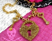 You Hold the Key - Gold Glitter Laser Cut Acrylic Necklace