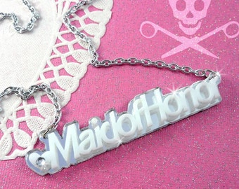 MAID OF HONOR - You Choose the Color - Laser Cut Acrylic Necklace in Silver Mirror and White