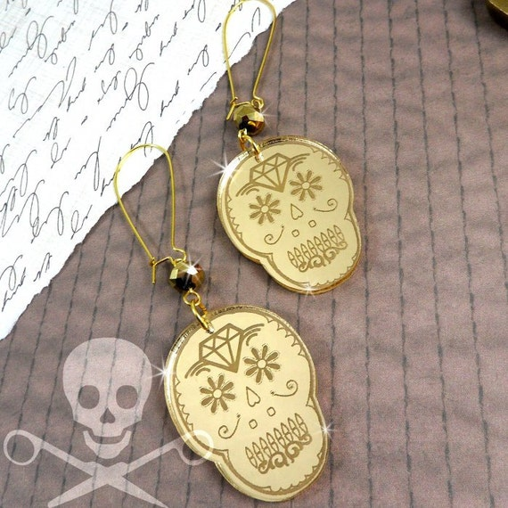 CUTE CALAVERAS - Laser Cut Acrylic Gold Mirror Sugar Skull Earrings