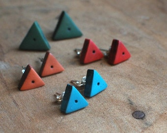 Geometric earrings, triangle, clay earrings