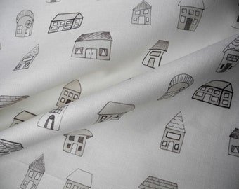 Gray houses, fat quarter, cotton fabric, hand drawn, limited edition