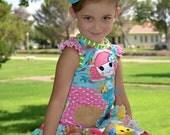 Boutique lalaloopsy coral mermaid beach custom ruffle skirt set 12m- 12 years