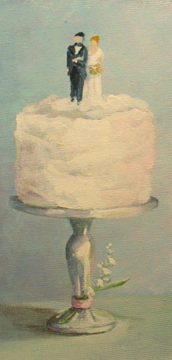 Cake Art Usa : Wedding Cake painting original dessert art FREE usa shipping