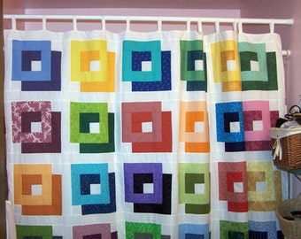Patchwork modern shower curtain shadow squares