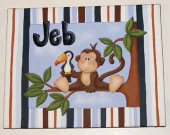 Custom HandPainted Personalized Boy Monkey Canvas
