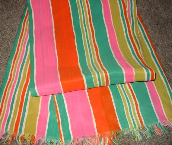 Only 5 Bucks......Vintage MOD Pink Orange Green and Blue Striped Scarf