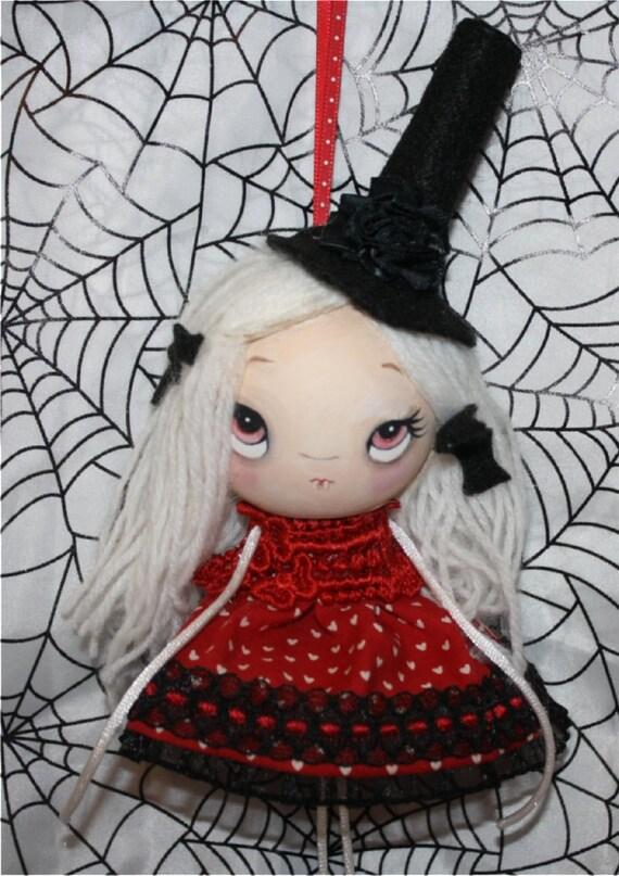 Vampire Halloween Ornament---Wooden Handmade Halloween Hangy