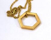 Hexagon Geometric Pendant Bronze Minimalist Pendant on Brass Chain Lost Wax Handmade