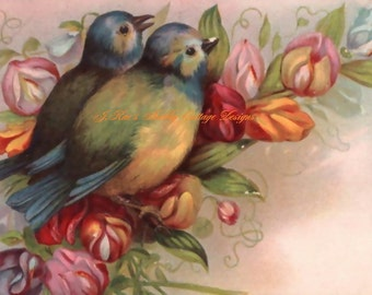 Beautiful Vintage Postcard Reproduction Birds & Flowers 8x10 Fabric Block