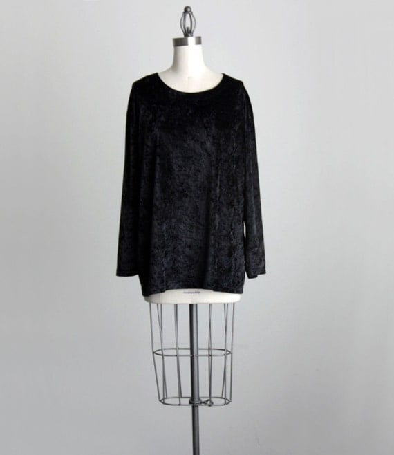 BLACK VELVET SHIRT 1990s Vintage Simple Black Long Sleeve Tunic Blouse