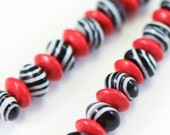 OXOXO Zebra Earrings, Bright Red, Black and White, Long Earrings, Free Shipping, Laura Mae Jewelry