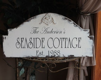 COMPLETELY Personalized COTTAGE hand painted wood sign wood flourish