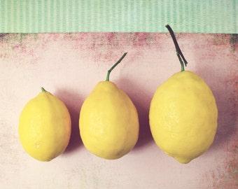 "Lemon still life kitchen art food art print fruit photograph pale pink yellow kitchen mid century modern ""Lemon Twist"""