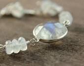Moonstone Bracelet - Sterling Silver -  Gemstone Bracelet -  Birthstone -  Rainbow - Wire Jewelry -   Moonstone Jewelry