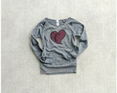 SALE - womens sweatshirt - winter fashion - heart in stitches print on heather gray eco-fleece pullover - The Rebound - Large