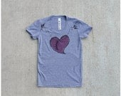 The Rebound - womens t shirt - M-XL - ruby red heart in stitches on heather gray track tees - gift for her