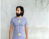 The Headhunter - mens tshirt - LARGE - neon yellow bow and arrow screenprint on heather gray - mens fashion