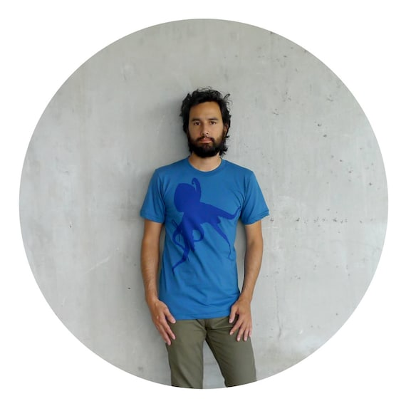 Mens fashion - organic cotton tshirt - S/M/L - nautical octopus print on American Apparel galaxy blue - Sucker for Ink
