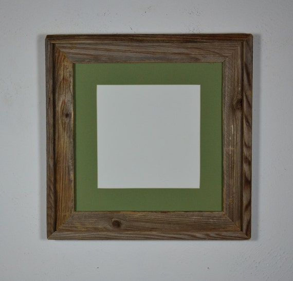 square picture frame barnwood 12x12 with 8x8 green mat. Black Bedroom Furniture Sets. Home Design Ideas