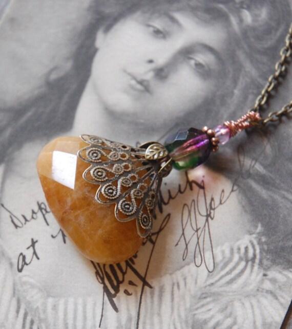 Dark Honey Necklace - Victorian Style, Edwardian, steampunk, butterscotch, purple, Boho