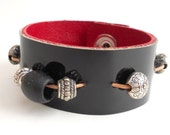 Handmade Black Patent Leather Beaded Bracelet, Women's Leather Jewelry, Leather Accessories