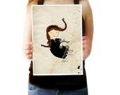 Libra art, zodiac print, girl,astrological sign, birth print
