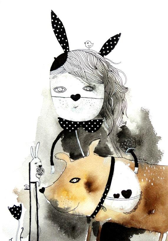 Whimsical Art Print - Fantasy illustration - Girl and Dog